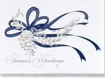 Pine Cone in Silver Christmas Greeting Cards